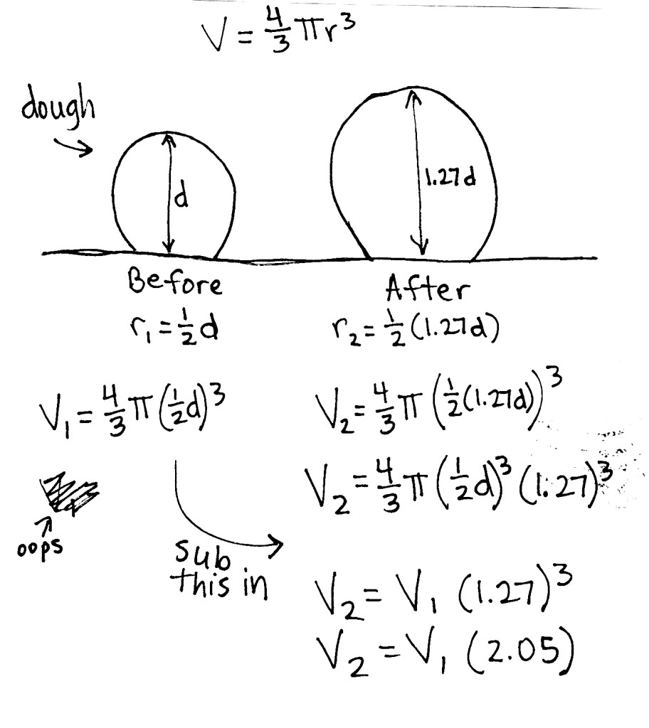 equations for the volume of a sphere show that the volume of the dough ball increased by a factor of 2